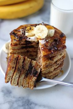 Best Ever Chocolate Chunk Banana-Oat Pancakes (use Bob's Red Mill all-purpose #glutenfree baking flour)