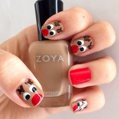 Christmas nails DIY manicure of the week: Rudolph (christmas nail art designs ring finger) Xmas Nail Art, Cute Christmas Nails, Holiday Nail Art, Christmas Nail Art Designs, Xmas Nails, Rudolph Christmas, Christmas Manicure, Winter Christmas, Christmas Ideas