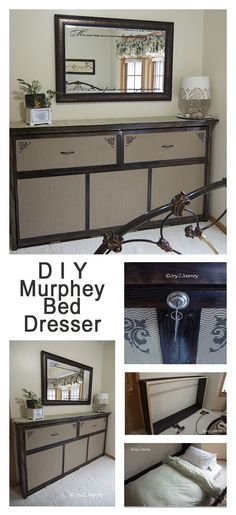 DIY Murphey Bed Faux Dresser Great idea to turn a murphy bed on it's side & disguise it as a dresser! Would be great in bonus room on a slanted wall Build A Murphy Bed, Best Murphy Bed, Murphy Bed Plans, Furniture Projects, Home Projects, Diy Furniture, Modern Murphy Beds, Rustic Bedding, Diy Bed