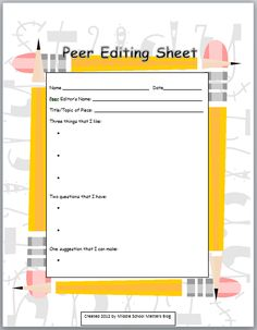 peer editing checklist high school essay Sentence fluency _____every sentence in my paper is grammatically correct i checked _____sentences begin in different ways _____i used transition words to.