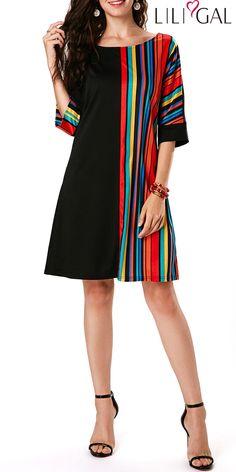 Rainbow Stripe Print T Shirt Dress Round Neck Three Quarter Sleeve Black Tunic Dress Black Tunic Dress, Black Dress With Sleeves, Belted Dress, Bodycon Dress, Tight Dresses, Sexy Dresses, Casual Dresses, Short Sleeve Dresses, Women's Tunic Dresses