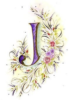"Letter ""J"".Ink Flourishes: The Joyful Journey Alphabet Art, Alphabet And Numbers, Letter Art, Calligraphy Letters, Calligraphy Flowers, Illuminated Letters, Zentangle, Flourish, Hand Lettering"