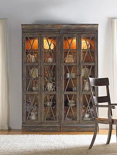 Hooker Furniture Dining Room Two-Door Bunching Curio in Hardwood Solids 5006-75908