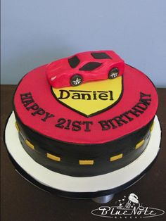 simple Ferrari cake #ferrari #birthday #21st #cake #car | Blue Note Bakery - Austin, Texas