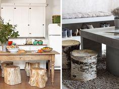 Taburetes con troncos de madera. Darán un aire natural a tu hogar