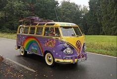 rainbow Painted up purple  Volkswagen Bus ☮ #VWBus ☮ pinned by www.wfpcc.com