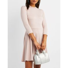 Charlotte Russe Mock Neck Skater Dress ($20) ❤ liked on Polyvore featuring dresses, mauve, mauve dress, long sleeve dress, long-sleeve skater dresses, 3 4 sleeve long dresses and pink dress