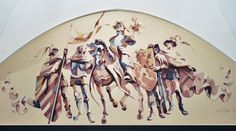 Medieval warriors mural painting.