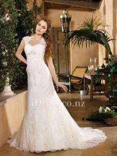 queen anne neckline a-line keyhole back lace wedding dress