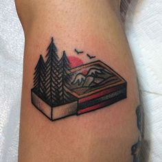 Top 100 Nature Tattoo Ideas Update] - Man With Creative Calf Tattoo Forest In Matchbox - Natur Tattoo Arm, Natur Tattoos, Puzzle Tattoos, Nature Tattoo Sleeve, Sleeve Tattoos, Bike Tattoos, Traditional Camping Tattoo, Traditional Tattoo Nature, American Traditional Tattoos