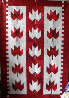 Maple Leaf Quilt Flag Quilt, Patriotic Quilts, Quilt Blocks, Canadian Quilts, Quilts Canada, Canada Day Crafts, Leaf Crafts, Yarn Crafts, Two Color Quilts