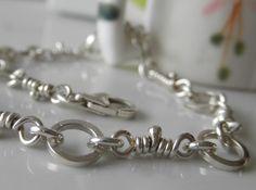 Sterling silver, linked chain, handmade bracelet