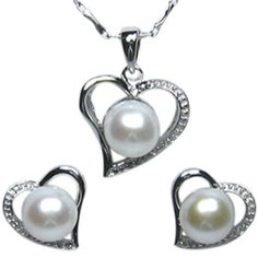 """Cursive Heart Shaped Cultured Pearl Platinum Overlay Sterling Silver Pendant Necklace and Stud Earrings (18"""") Dahlia. Save 52 Off!. $71.95"""