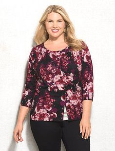 Plus Size Floral Button Sweater