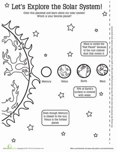 Second Grade Earth & Space Science Places Paper Projects Worksheets: Planet Activity Placemat Planets Activities, Space Activities, Science Activities, Science Projects, Solar System Worksheets, Science Worksheets, Science Lessons, Elementary Science, Science Classroom