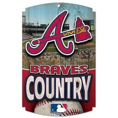 """ATLANTA BRAVES COUNTRY WOOD SIGN 11""""x17"""" BRAND NEW SHIPPING WINCRAFT"""