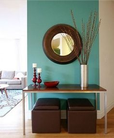 aqua and tan living room | turquoise and brown living room - Fresh take on modern decorating. Try ...