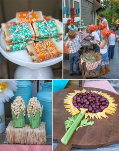 love the sunflower and popcorn cobs!  ...and the paisley tied around the bars with string.