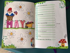This is my first unique monthly spread. Garden gnomes are just so springy! The larger flowers are my mood trackers for the month, so the left page will be much more colorful in the end.  #bulletjournal #bujo #monthlyspread