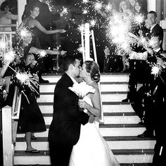 Love the black and white photo with the sparklers