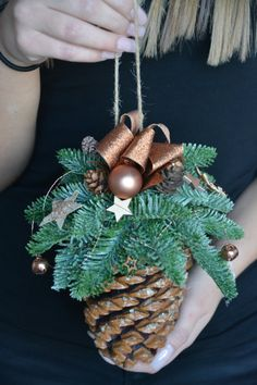 Christmas is a special time... Let the decorations create a magical Christmas spirit in your house... This listing is for Large Pine Cone Christmas Ornament This arrangement will look great wherever you hang it above the fireplace or stairs. Why not hang it on the door frames or in the windows! It can work as a unique gift for friends and family! I would be happy to send your gift directly to the recipient with a message included from you. Materials used: pine cone, matching copper ribbon…