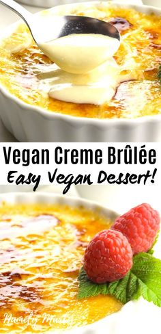 This Vegan Creme Brûlée recipe is SO creamy and SO delicious! You will be SHOCKED at how easy it is to make a dairy free creme brûlée! In fact, it's much easier than the traditional recipe and this on Healthy Vegan Desserts, Vegan Dessert Recipes, Vegan Treats, Vegan Foods, Vegan Dishes, Vegan Baking Recipes, Donuts Vegan, Vegan Creme Brulee, Mug Cakes