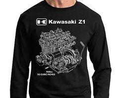 Kawasaki Z1 KZ GPZ ZX Engine Cutaway T Shirt Motorcycle Ninja 1972 ...