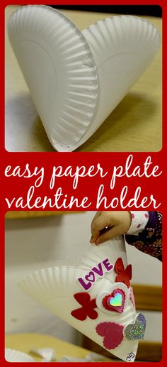 Use paper plates and foam stickers to create this easy valentine holder!