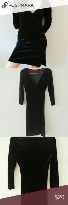 LAST CALL bcbg black velour dress Form fitting, side slits, perfect condition, no signs of wear, v neck, 90% polyester 10% spandex BCBGMaxAzria Dresses Long Sleeve
