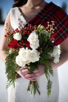 WedStudio and Choreographed by Ciara have styled this incredible Celtic Christmas inspiration shoot and I literally could not be happier as I've spent the majority of my morning wrapped up in thi. Christmas Wedding Bouquets, Winter Wedding Flowers, Bouquet Wedding, Winter Weddings, Bridal Flowers, Plaid Wedding, Tartan Wedding Dress, Dress Wedding, Celtic Christmas