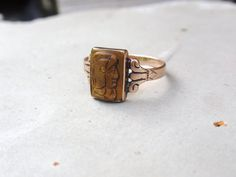 Victorian Cameo Ring 10k gold Tiger Eye by LuceesTreasureChest