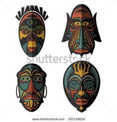Set of African Ethnic Tribal masks on white background. . Flat icons. Ritual symbols.