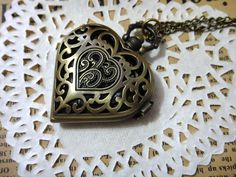vintage style necklaces | Vintage Style Heart-Shaped Pocket Watch With Necklace