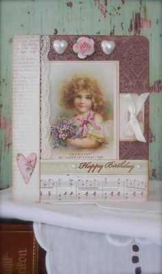 Synnøves Papirverksted: Vintage card with flowers and hearts, Pion design, vintage,