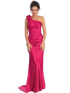 45b7d55a17 One Shoulder Charmeuse Pleated Evening Gown