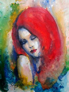 Original Watercolor Painting  The Girl With by GargoviArtGallery, $110.00