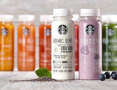 Packaging design for the Starbucks Korea's ready-to-drink juice and yogurt Yogurt Packaging, Juice Packaging, Beverage Packaging, Bottle Packaging, Starbucks, Chia Drink, Yogurt Brands, Probiotic Drinks, Food Packaging Design
