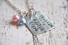 Custom name necklaces make excellent gifts and keepsakes. It's handmade by SoSimplyQuaint!