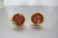 Vintage Intaglio Cameo Earrings Carved by TonettesTreasures