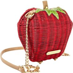 Betsey Johnson Kitchi Strawberry Crossbody ($78) ❤ liked on Polyvore featuring bags, handbags, shoulder bags, all handbags, red, cross body purse, accessories handbags, shoulder strap bag, crossbody handbags and chain strap crossbody