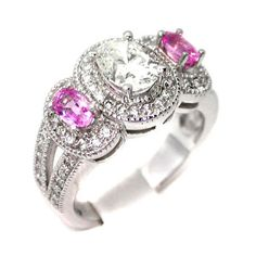 Oval Diamond Engagement Ring With Pink Sapphires in White Gold