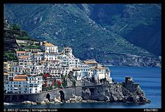 Houses built on a rocky promontory in Amalfi. Amalfi Coast, Campania, Italy (color)