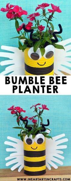 Handprint Bumble Bee Planter Craft For Kids – I Heart Arts n Crafts - Easy Crafts for All Bee Crafts For Kids, Mothers Day Crafts For Kids, Summer Crafts, Toddler Crafts, Easy Crafts, Art For Kids, Kids Garden Crafts, Bees For Kids, Animal Crafts For Kids