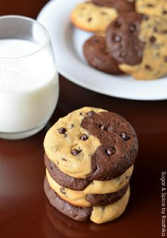 Half and Half Chocolate Chip Cookies
