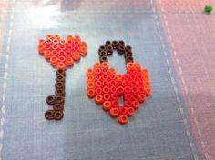 Pyssla bead heart shaped key and locket