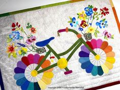 Dresden Quilt, Fiber Art Quilts, Bicycle Art, Quilted Wall Hangings, Small Art, Wall Art Designs, Quilt Patterns, Whimsical, Flower Basket