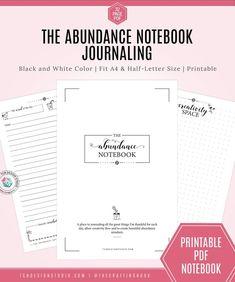 The Abundance Notebook. A Gratitude Bullet Journal Dotted Bullet Journal, Bullet Journal Notebook, Note Sheet, Journal Template, I Sent You, Abundant Life, Notebook Design, Word Of The Day, Letter Size