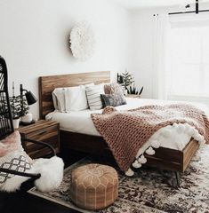30 Lovely Boho Chic Bedroom Decor Idea - Indian-inspired accent toss pillows bring a subtle boho vibe to a neutral ivory room. Bold rich hues and embroidered textiles offset white walls and a. Simple Bedroom Decor, Trendy Bedroom, Home Decor Bedroom, Diy Bedroom, Bedroom Rugs, Bedroom Chair, Bedroom Lamps, Modern Bedroom, Small Space Bedroom