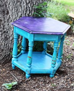 Funky Bright Turquoise & Purple Upcycle Side Table / Colorful Accent Table