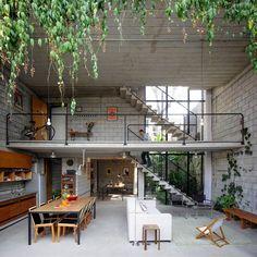 บ้านคอนกรีต อิฐบล็อก การออกแบบภายในสไตล์ Loft